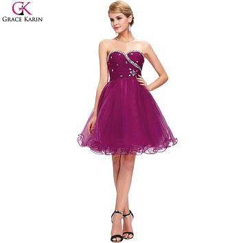 Grace Karin Cheap Bridesmaid Dresses Under 50 Purple Blue Pink Short Bridesmaid Dress 2017 Ball Gown Organza Wedding Party Dress