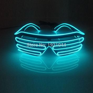 New Transparent Blue EL Wire Neon LED Light Up Shutter Fashionable Glasses