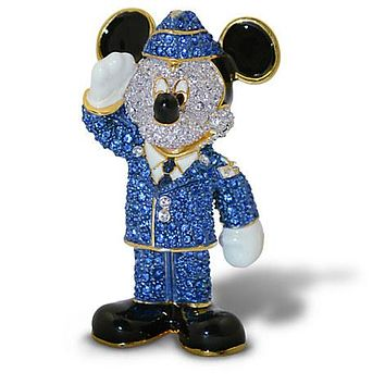 Disney Parks Mickey Mouse Air Force Jeweled Figurine by Arribas Brothers New Box