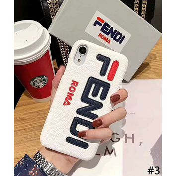 Fendi Tide brand embroidery letter hard shell leather iphonexs mobile phone case cover #3