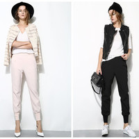 women black pants,other color is pink,navy,jogging pants,minimalist,sporty style,high fashion,unique,simple,casual,for summer.--E0225