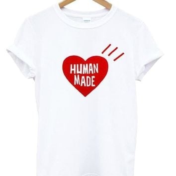 human made heart red Letters Print Women tshirt Cotton Casual Funny t shirt For Lady Top Tee Hipster Drop Ship Z-795