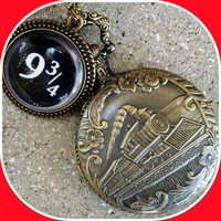 Harry Potter Hogwarts Express Platform 9-3/4 style necklace Fantasy Steampunk Pocket Watch pendant charm Victorian