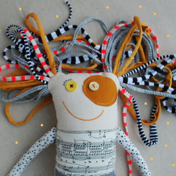 Art Special Stuffed Doll, Gift for Music Teacher, Mustard and Ivory Colors, Soft Doll, Cloth Textile Doll, Music Doll, Gift for Girl, Ooak