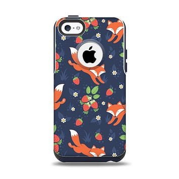 The Running Orange & Navy Vector Fox Pattern Apple iPhone 5c Otterbox Commuter Case Skin Set