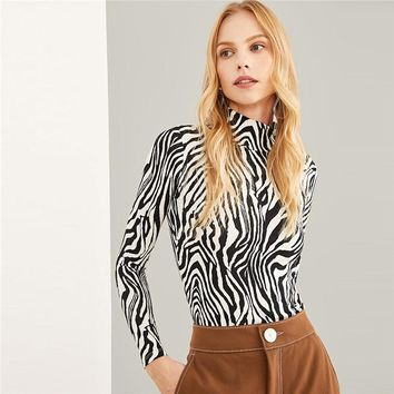 Black And White Highstreet High Neck Zebra Print Pullovers Long Sleeve Tee Workwear Women T-shirt And Tops
