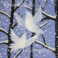 Winter Art Set, Painting on Canvas, Snow Owl, Doves, Cabin