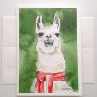 Llama Watercolor Painting Greeting Card - Blank 5 x 7