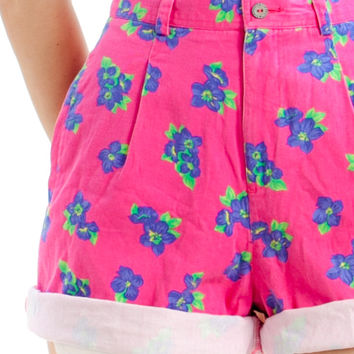 Vintage 90's Hot Hot Pink Floral Shorts - XS/S