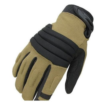 Stryker Padded Knuckle Glove Color- Coyote-Black (Small)