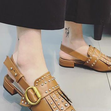 Brown Pointed Studded Slip-on Flats