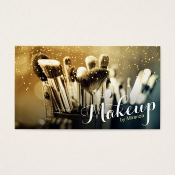 Makeup Artist Brush Set Gold Confetti Appointment Business Card