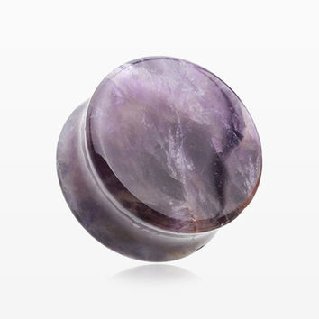 A Pair of Amethyst Quartz Stone Double Flared Ear Gauge Plug