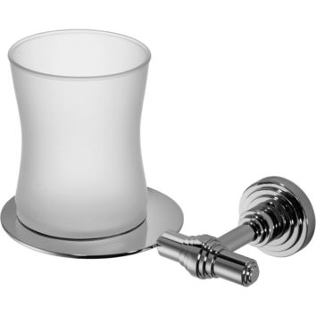 Scala Wall Frosted Glass Toothbrush Toothpaste Holder Bath Tumbler, Solid Brass