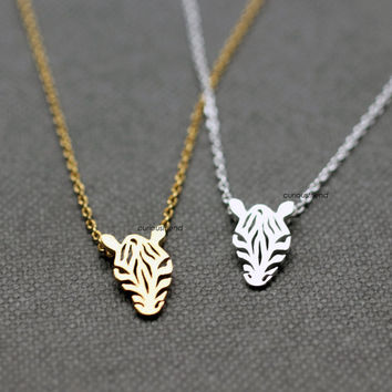 Cut-out Zebra Pendant Necklace / Horse Pendant Necklace / Zebra Head Necklace / animal jewelry  - Available color as listed (Gold, Silver)