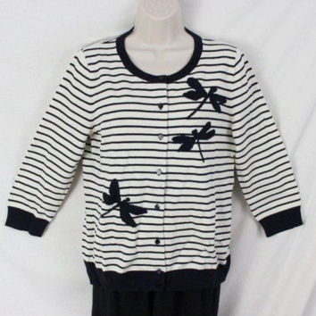 Talbots Sweater M size New Black Ivory Striped Dragon Fly Cardigan All Season