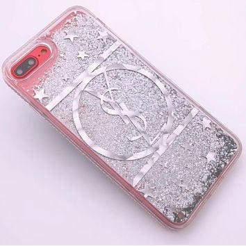 YSL New iPhone8 Mobile Shell 7plus Beads Soft Edge Diamond Phone Case F0287-1 Silver