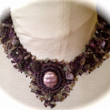 Amethyst,Collar, Necklace,Nuggets, Lampwork Bead, , For Women, Everyday Wear