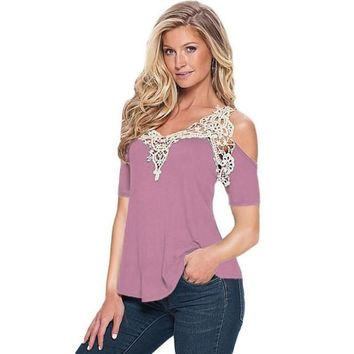 """BODYCON"" Off Shoulder Women Lace Top (Short Sleeve)"