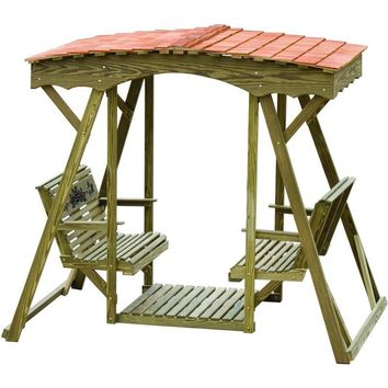 LuxCraft Rollback Pine Rose Double Lawn Glider With Cedar Roof