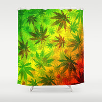 Marijuana Cannabis Leaves Pattern Shower Curtain by Bluedarkat Lem | Society6
