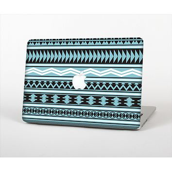 The Vector Blue & Black Aztec Pattern V2 Skin Set for the Apple MacBook Pro 15""