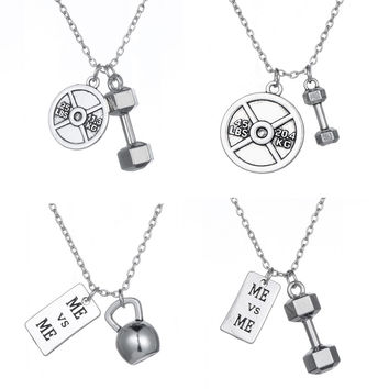 Choker Necklace Dumbbell Kettlebell Me & Me Fitness Bodybuilding Gym Necklace Jewelry for Men or Women Best Friend Gift
