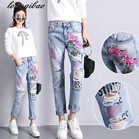 Spring and summer women's new loose fashion jeans (in front of three embroidery, followed by 4 printing and dyeing) yaoyi1