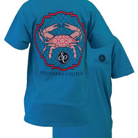 Southern Couture Preppy Crab Pattern Quatrefoil Girlie Bright T Shirt