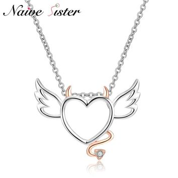 Cute Heart With Wings and Tails Pendants Rose Gold Color Pendant Necklaces For Girl Women Love Statement Jewelry Little Devil