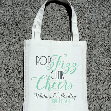 Pop Fizz Clink Cheers Personalized Wedding Tote -Wedding Welcome Tote Bag