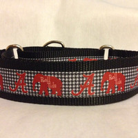 """Nylon w/University of Alabama Houndstooth Ribbon Leash, Martingale or Quick Release Collar Ribbon Collar 1"""" Martingale 1.5"""" Martingale"""