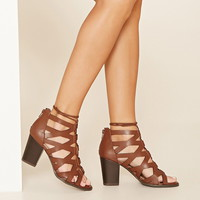 Cutout Lace-Up Block Heels