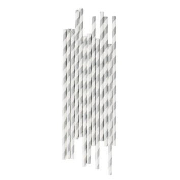 Silver Striped Paper Straws
