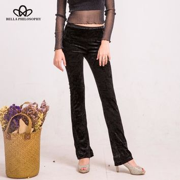 Bella Philosophy 2017 women autumn winter new velvet slim flare pants bell-bottom trousers high street