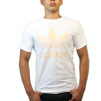 Adidas Classic Logo Peach Color Trefoil Men's White T-shirt
