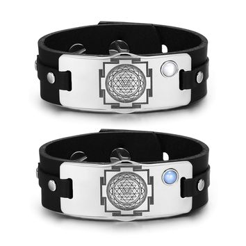 Sri Yantra Chakra Magic Energy Amulets Love Couples Blue White Simulated Cats Eye Leather Bracelets