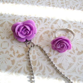 Rose Ring and Necklace Set by StrictlyCute on Etsy