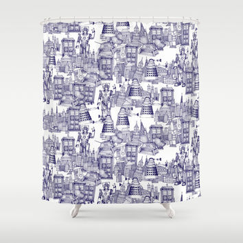 Doctor Who Toile de Jouy | 'Walking Doodle' | Blue Shower Curtain by Sharon Turner | Society6