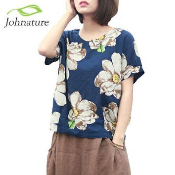 Johnature 2017 Summer New Women Print Flower Round Neck Cotton Linen Short Sleeve T Shirt Loose Vintage Girl Top