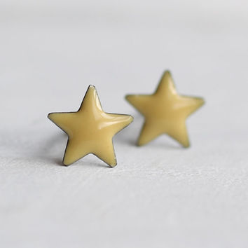 Star Earrings ... Yellow Space Planet Astrology Tiny Gold Post Vintage Studs