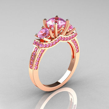 French 14K Rose Gold Three Stone Light Pink Sapphire Wedding Ring, Engagement Ring R182-14KRGLPS
