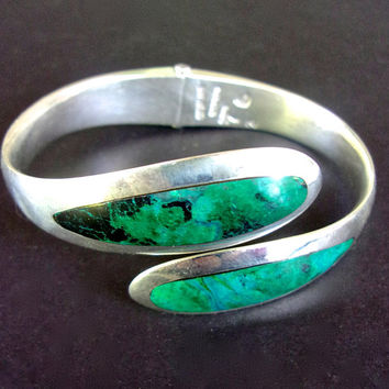 Chrysocolla Sterling Silver Hinged Bracelet Green SERGIO Bypass, Mexico, Vintage