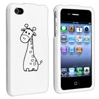 Apple iPhone 4 4S White Rubber Hard Case Snap on 2 piece Black Cute Giraffe