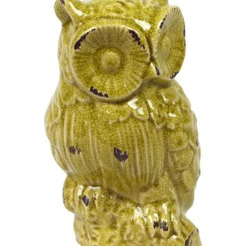 Urban Trends Collection Ceramic Distressed Gloss Finish Yellow Green Owl Figurine on a Branch Base