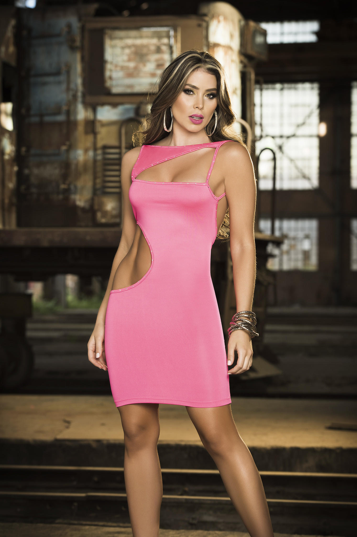Pink Provocative Cutout Dress from Yallure | Sexy Dresses