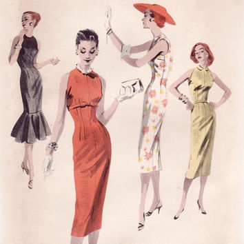 Vintage 50s Sewing Pattern - Sexy Wiggle Dress with Diagonal Armholes, Mermaid Flounce, Underbust Bow - Butterick 7749, Bust 30, Uncut