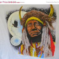 Indian Chief T Shirt Headdress with Horns Artist signed Shirt