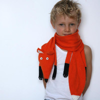 Fox scarf kids - Kids Red Fox scarf - Faux Fox knitted scarf - Knitted scarf - Child scarf - Knitted baby scarf - Knit scarf