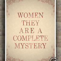 Inspirational Quotes Poster, Stephen Hawking, Women, They Are A Complete Mystery, typography, wall art, home wall decor, 8x10, 11x14, 16x20